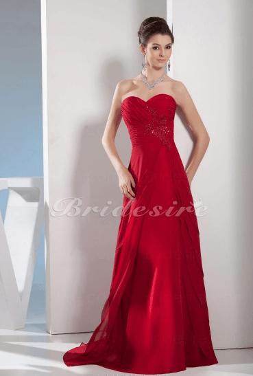 Vestido Corte A Escote Corazón Hasta el Suelo Sin Mangas Gasa Satén